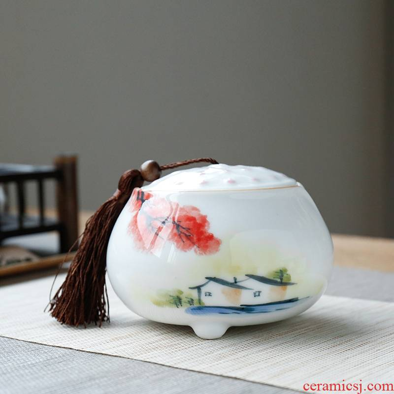 Qiao mu sweet white glaze hand - made ceramic kung fu tea caddy fixings seal pot pu 'er tea, green tea pot gift boxes