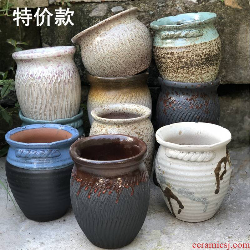 Special coarse pottery son fleshy flowers green plant POTS much meat basin breathable purple sand pottery mage plant zhuang zi