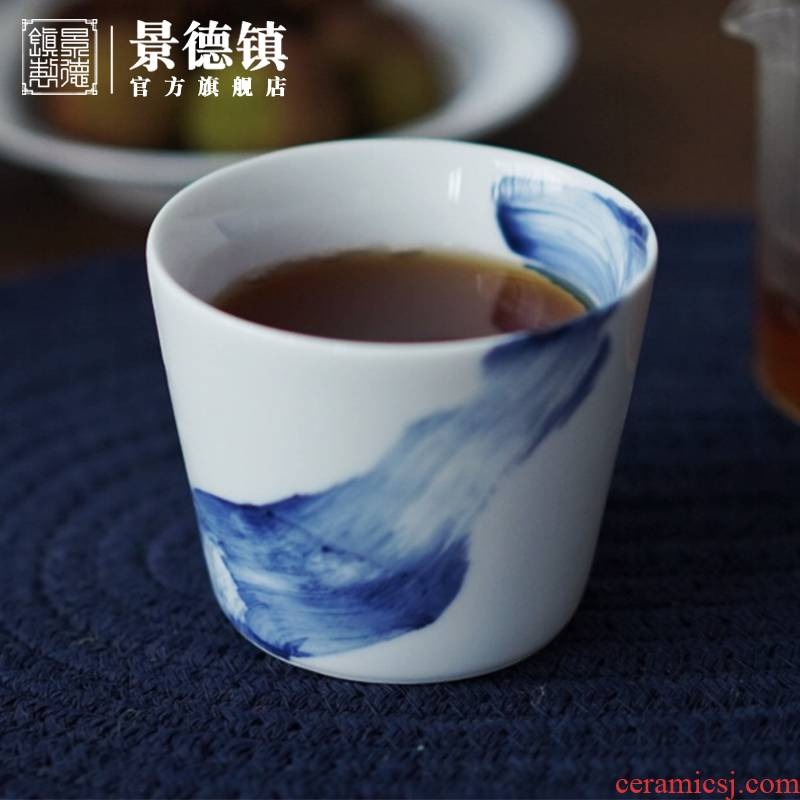 Jingdezhen flagship stores in ceramic hand - made little blue cup of personal tea tea sample tea cup single CPU