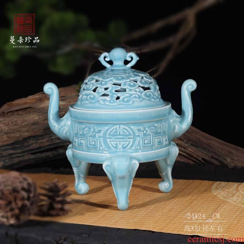 Jingdezhen delicate celadon sky blue porcelain censer triangle elephant nose porcelain present high furnace by hand