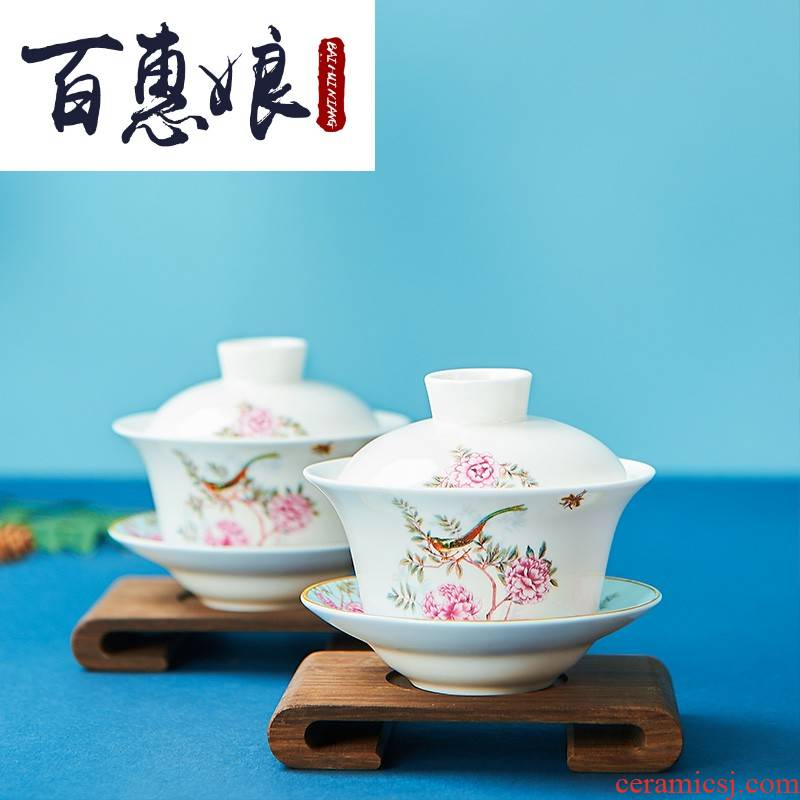 (niang China garden ipads porcelain three tureen of garden style gift boxes