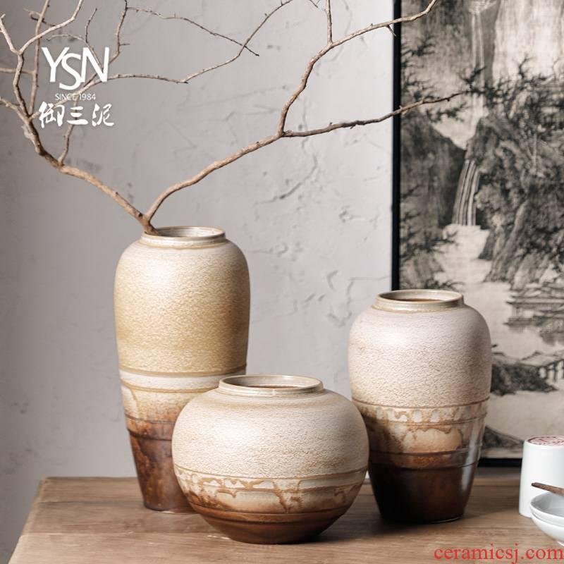 Royal three new Chinese dry flower flower vase thick mud TaoHua jingdezhen ceramic bottle of zen ornament furnishing articles