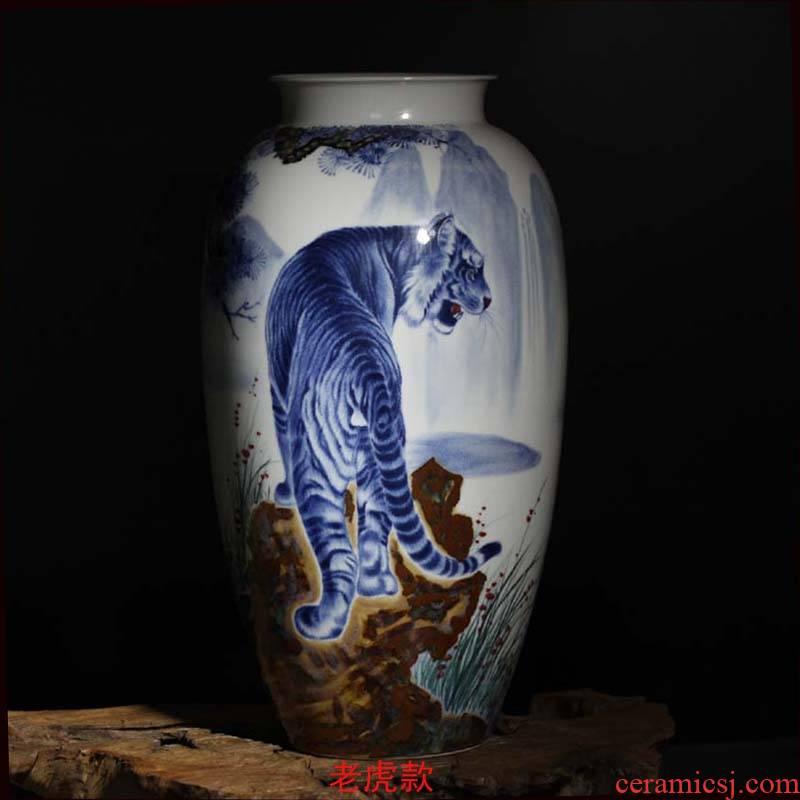 Three character big Joe cole beauty decorative vase jingdezhen hand draw up the mountain tiger tiger vase