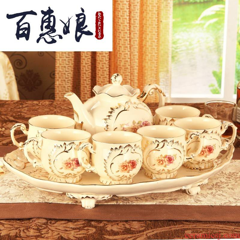 (niang European ceramic tea set with tray was home English afternoon tea cup suit small key-2 luxury