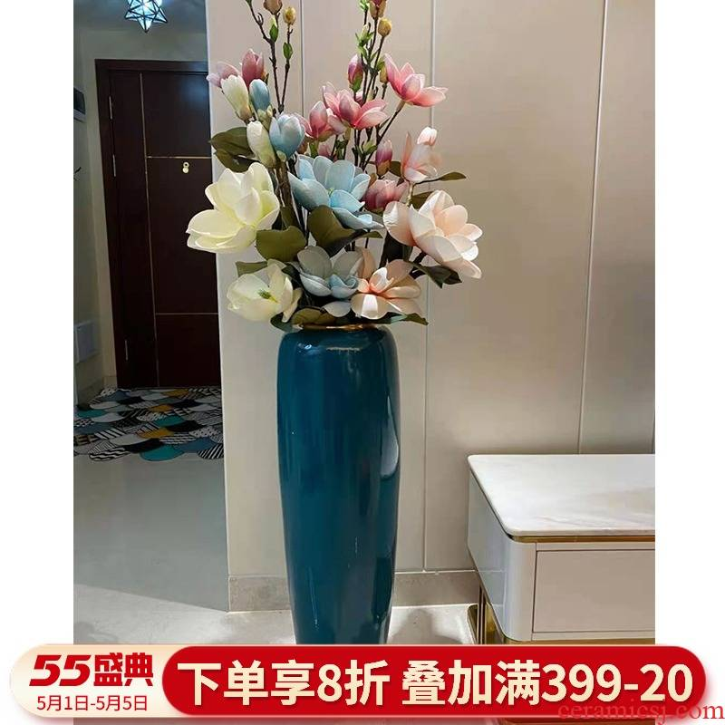 Light European - style key-2 luxury ceramic floor large contracted sitting room TV cabinet vase dried flowers, American adornment furnishing articles