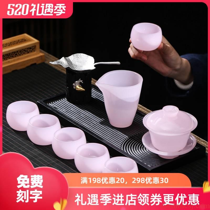 Ms jade porcelain tea set household kung fu tea cups pink lotus masters cup coloured glaze jade tureen sample tea cup