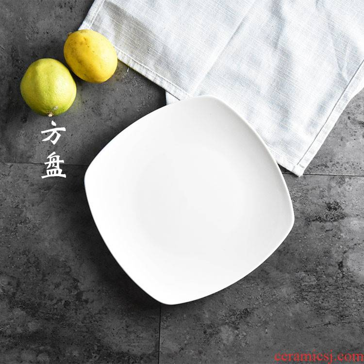 Pure white creative ceramics steak plate of western dishes with shallow dish dish dish dish square plate plates western - style tableware