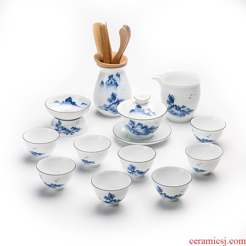 Chaoshan kungfu tea set suit household hand - made landscape light high - end key-2 luxury tureen tea cup of a complete set of ceramic teapot