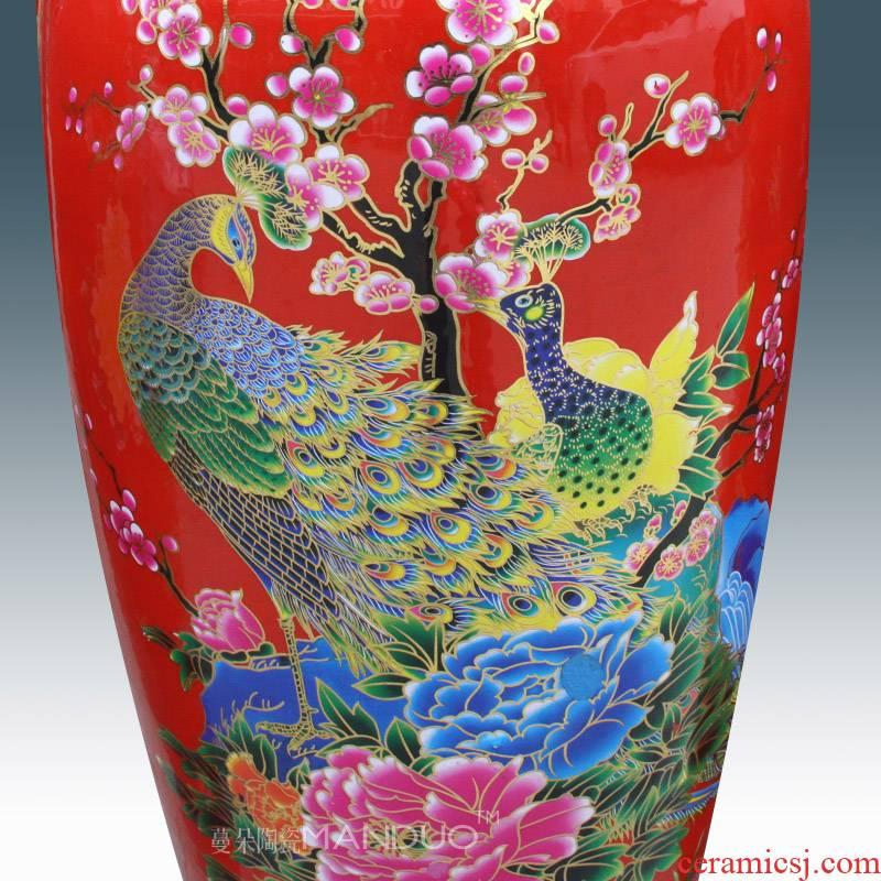 Jingdezhen red wealth of large vase high - grade sitting room open cultural gifts furnishing articles furnishing articles company