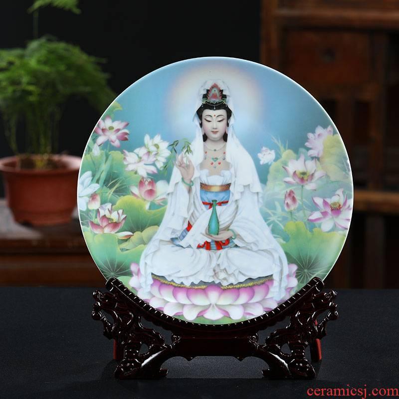 Hang dish of jingdezhen ceramics decoration plate duke guan maitreya sitting room ark, rich ancient temples modern furnishing articles