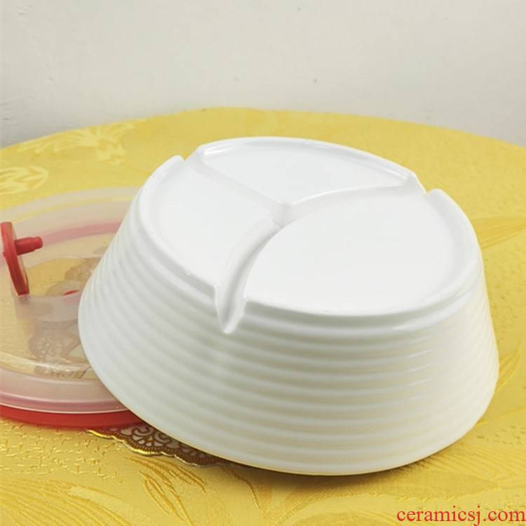 Chinese tableware microwave three bowls of two double plate with cover meal basin ceramic frame creative lunch box