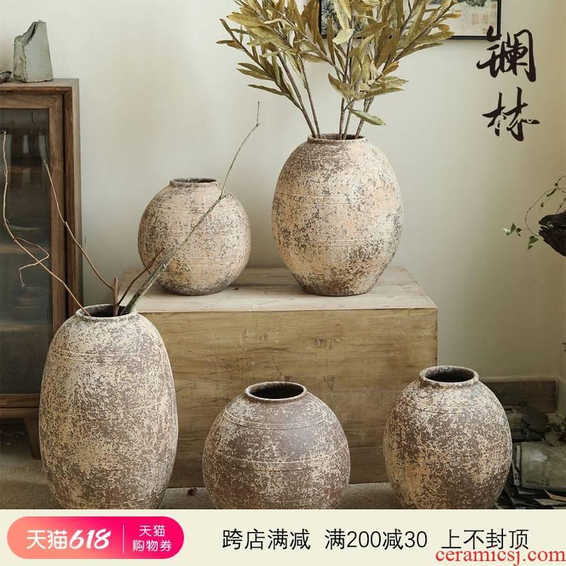 Manual coarse TaoHua device do old clay pottery retro flower arranging dried flower vase hand made Japanese tea zen flowerpot