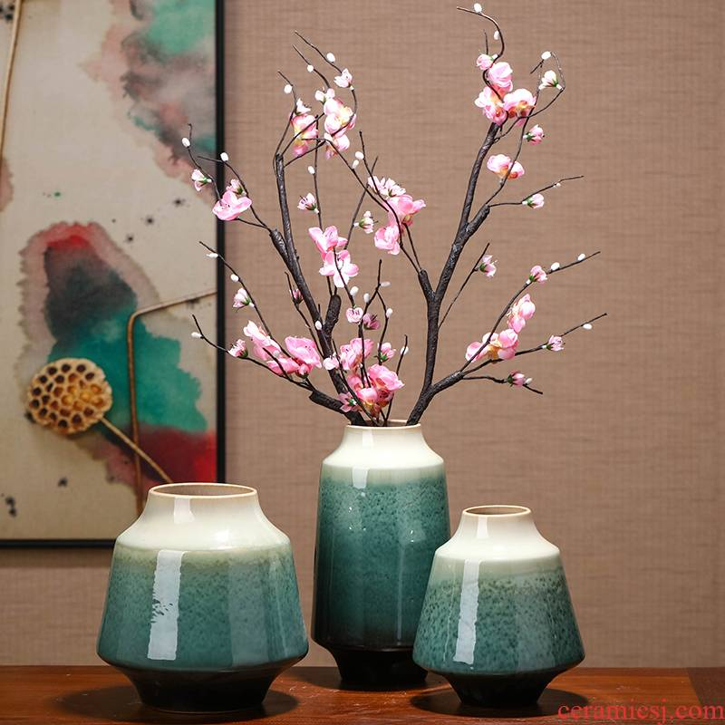 New Chinese style vases, flower arranging TV ark home sitting room porch floral zen ceramic table dry flower adornment furnishing articles