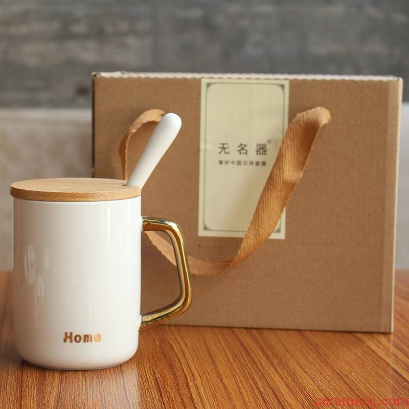 Qiao mu ou ins mark cup coffee cup ceramic cups with cover run Chinese couples water cup a to send gifts