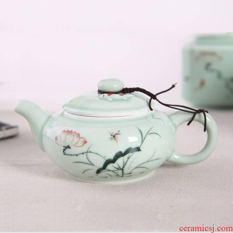 Boil the teapot tea single pot small household health pot carp jingdezhen ceramic celadon kung fu tea set hand - made of lotus