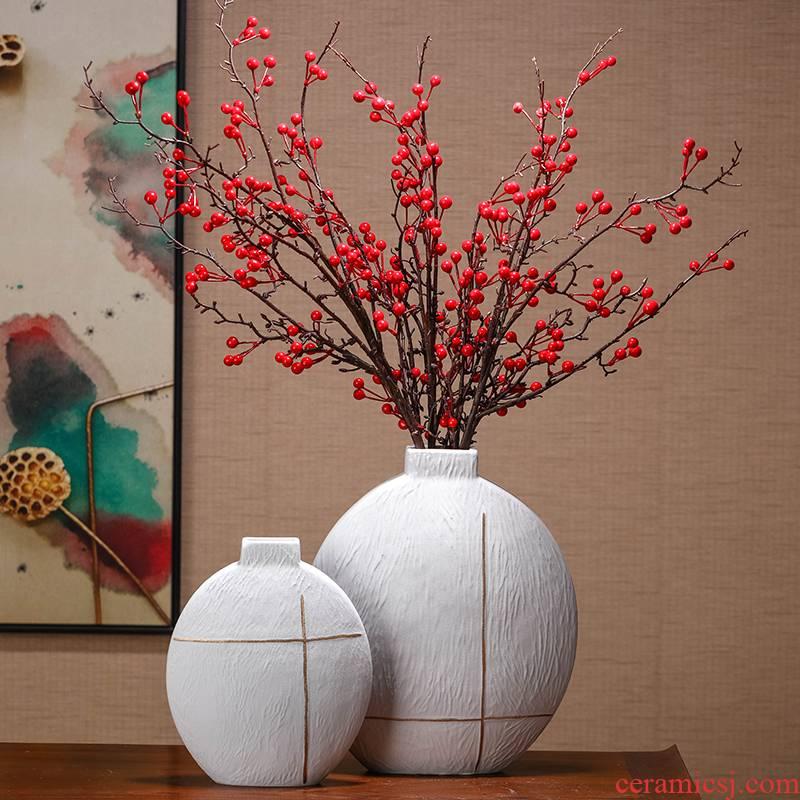 Creative plain white ceramic vase desktop furnishing articles Nordic example room, household living room TV ark, flower arranging flowers