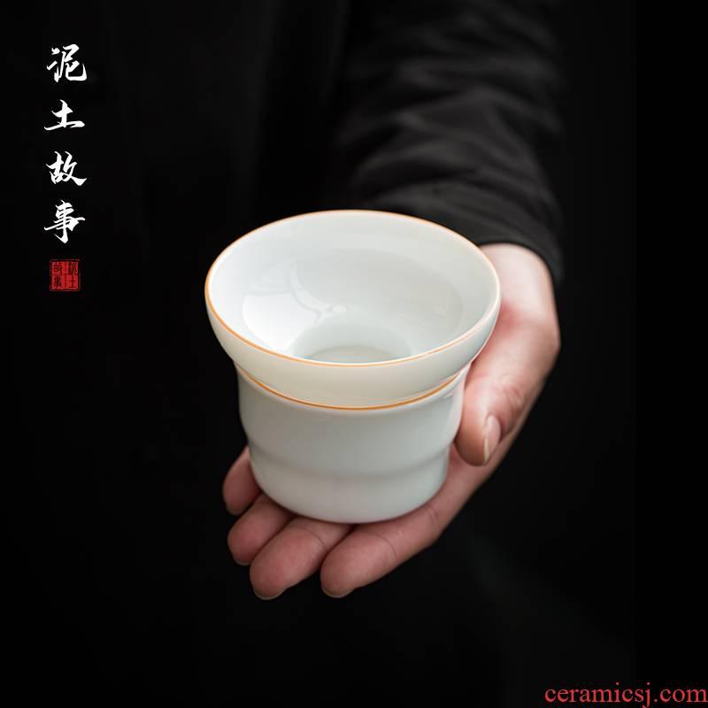 Dehua suet jade white porcelain tea strainer zero with ceramic tea tea tea strainer screen suet jade porcelain tea set