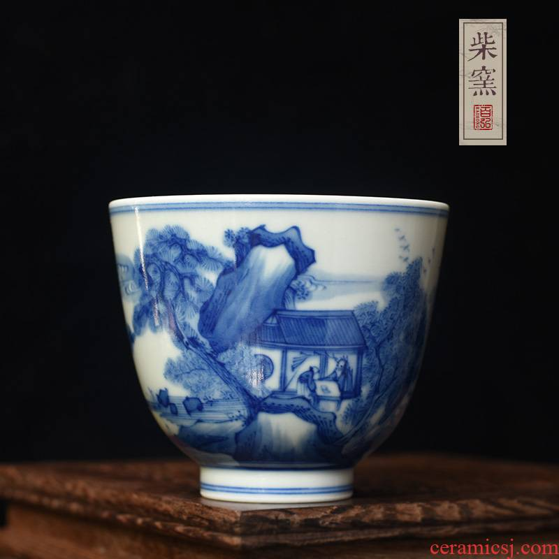 Hundred hong maintain archaize of jingdezhen blue and white kangxi landscape master cup single cup cup firewood hand - made sample tea cup
