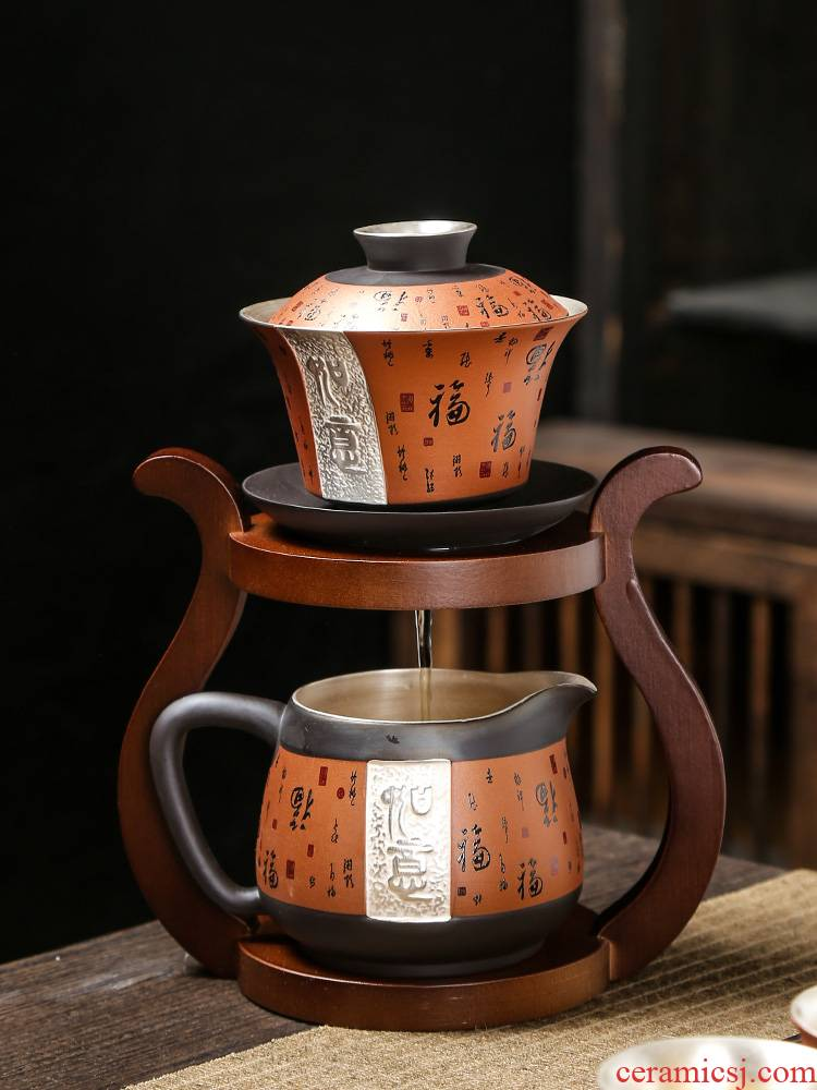 Coppering. As silver violet arenaceous kung fu tea set office all semi - automatic tea cup lid to use high - end gift boxes