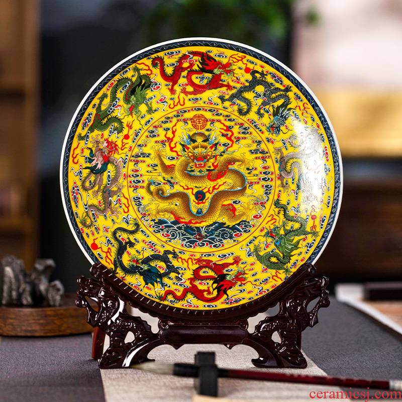 Jingdezhen ceramic longfeng home desktop rich ancient frame of Chinese style porch decoration plate wine sitting room adornment furnishing articles