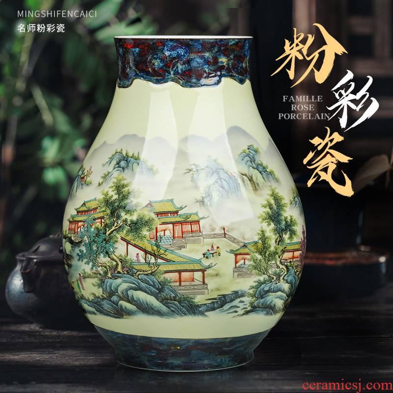 Jingdezhen ceramics powder enamel vase flower arrangement sitting room adornment of Chinese style household furnishing articles porch TV ark, decoration