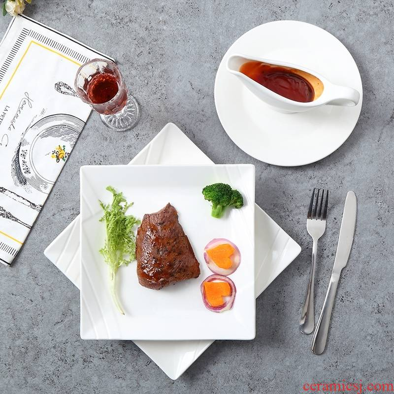 Steak dishes suit dinner plate household creative 0 western - style the pure white ceramic tableware of a full set of knives and forks.
