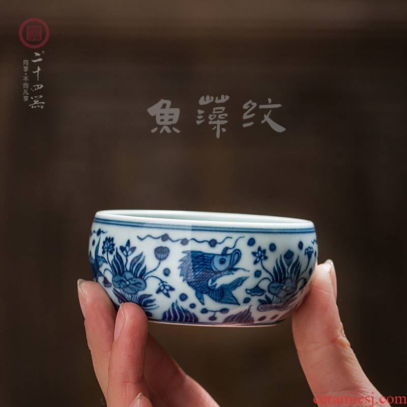 Hand the blue and white porcelain of jingdezhen ceramic all Hand kung fu master cup single cup sample tea cup, small cup single restoring ancient ways