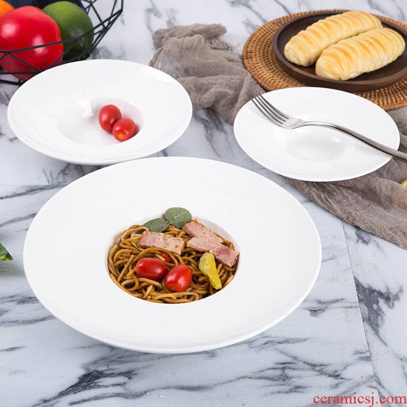 Ceramic creative pure white straw hat tableware pasta spaghetti disc western salad plate round soup plate household food dish