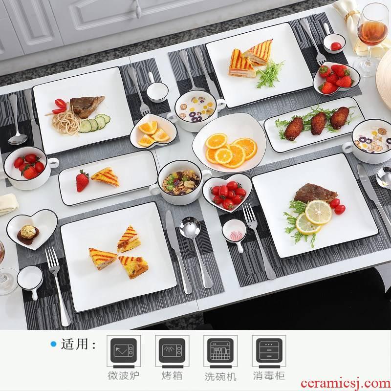 Eat western - style food tableware steak knife and fork dish suit European ceramics steak lovers home high - grade plate full