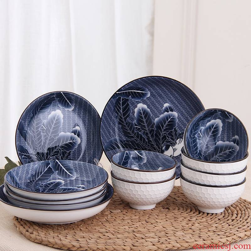 12 piece under the blue and white glaze color ceramic tableware suit household round ceramic rice bowl chopsticks dishes dishes suit