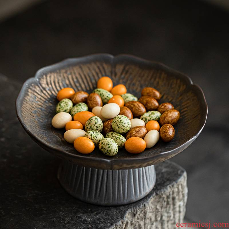 Japanese style restoring ancient ways of fruit up ceramic compote tea cake candy dish plate cake tray