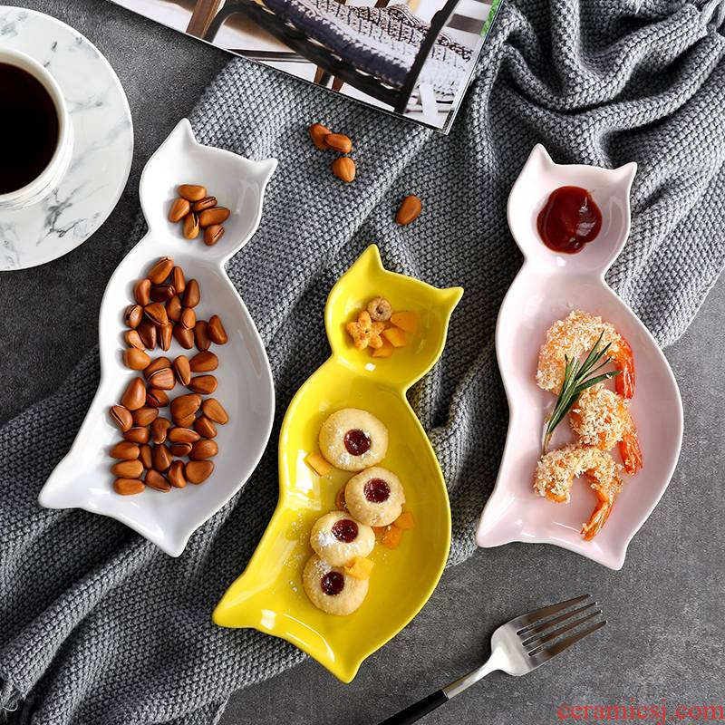 Japanese creative ceramic plate cartoon ceramic plates all the breakfast tray was flat home early western tableware