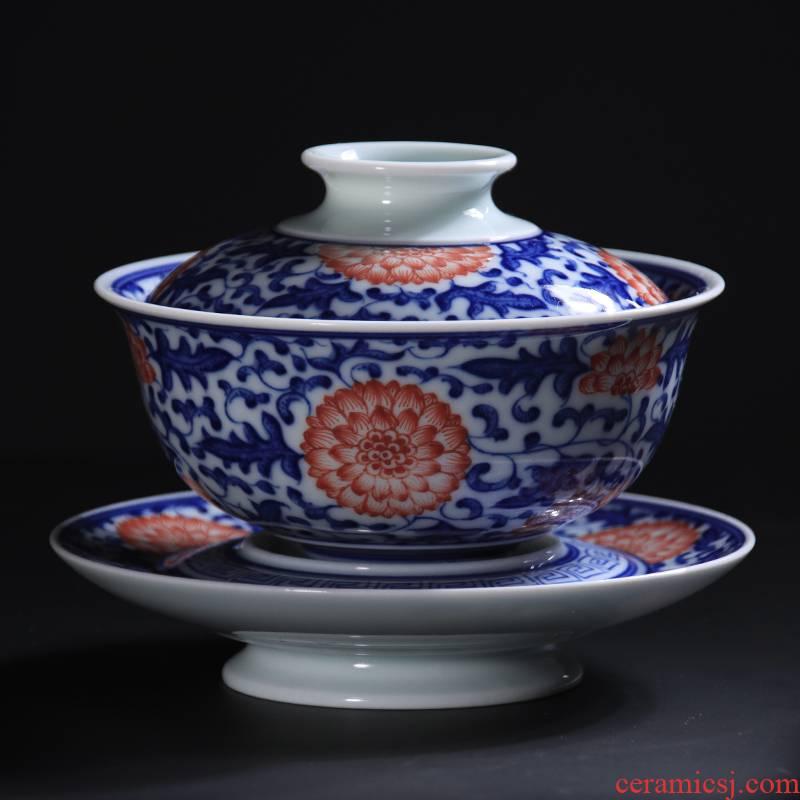 Blue and white youligong hand - made of hand - made bound lotus flower grain three tureen jingdezhen checking ceramic tea set tea bowl