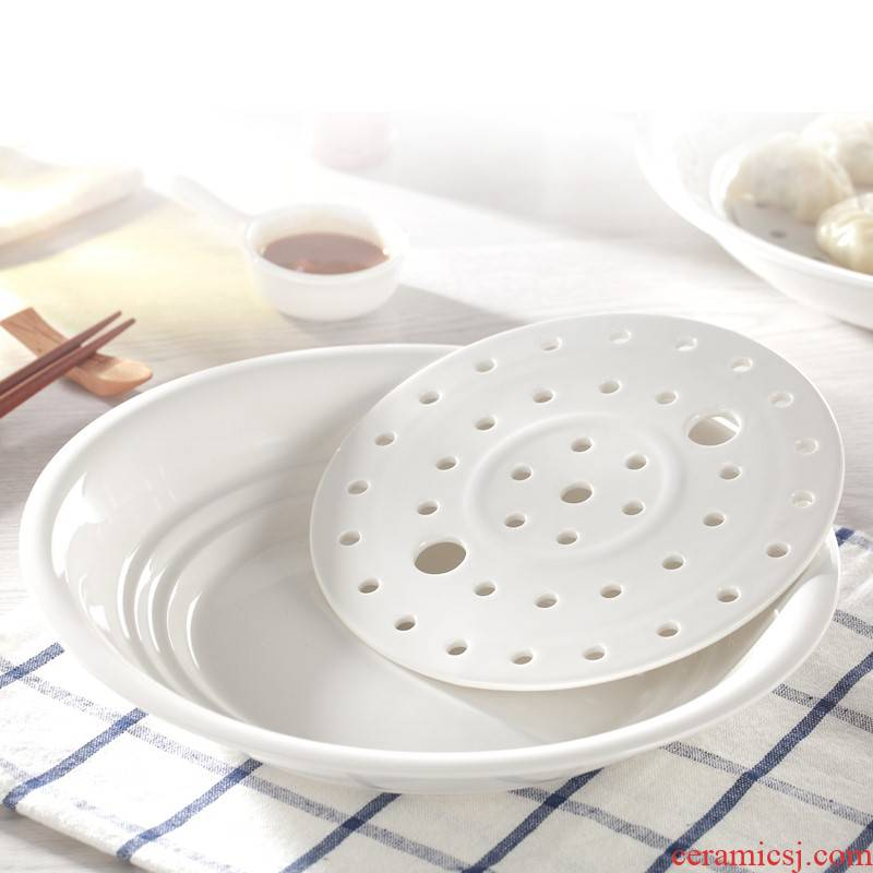 2021 round food tableware Chinese style household steamed dumplings ceramic plate deep animated cartoon drop glaze color plate
