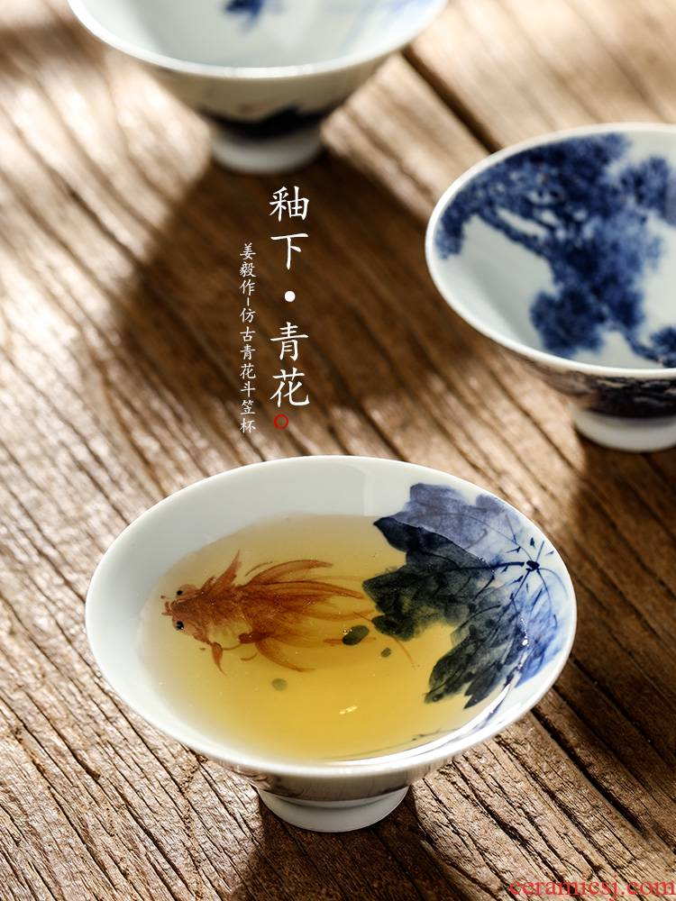 Jingdezhen porcelain teacup master cup single cup pure manual kung fu tea set perfectly playable cup single hand - made the goldfish bowl