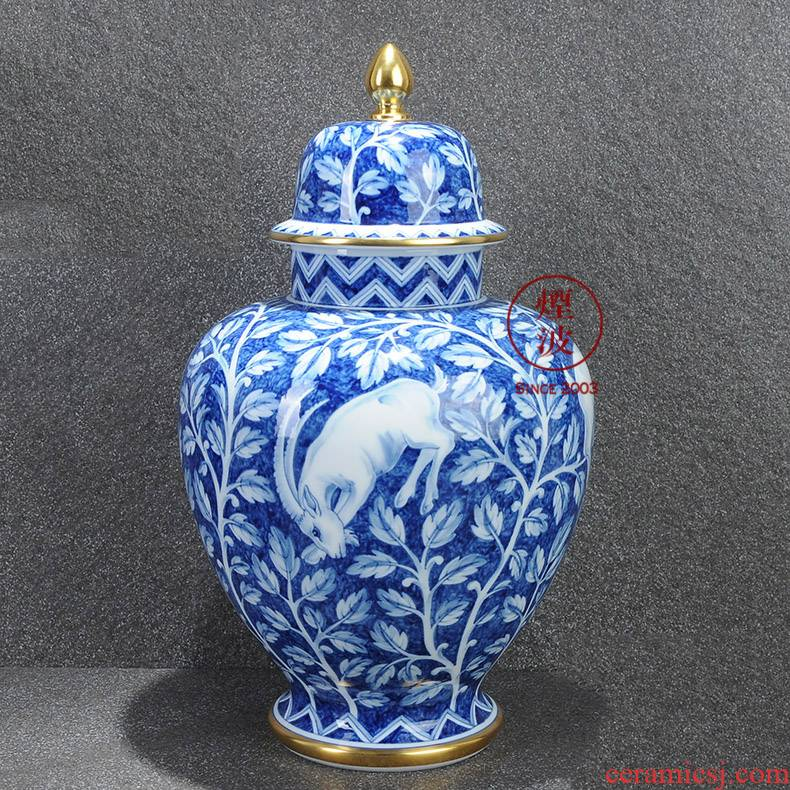 German mason MEISSEN limited works the see colour blue and white porcelain vase Capricorn the general tank
