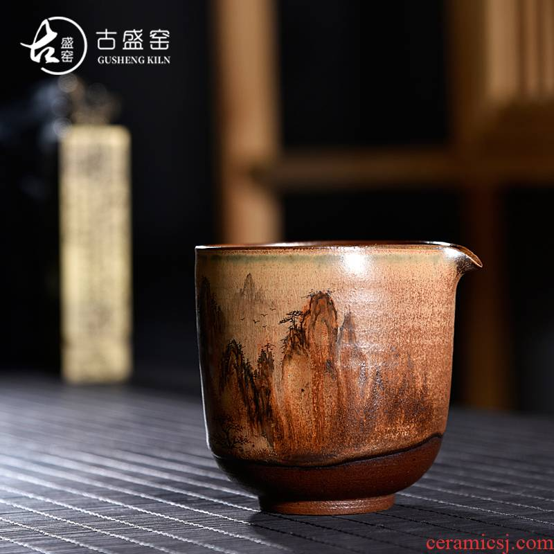 Ancient sheng up new hand made of pure wood natural dust ceramic tea set fair keller cup keller cup points