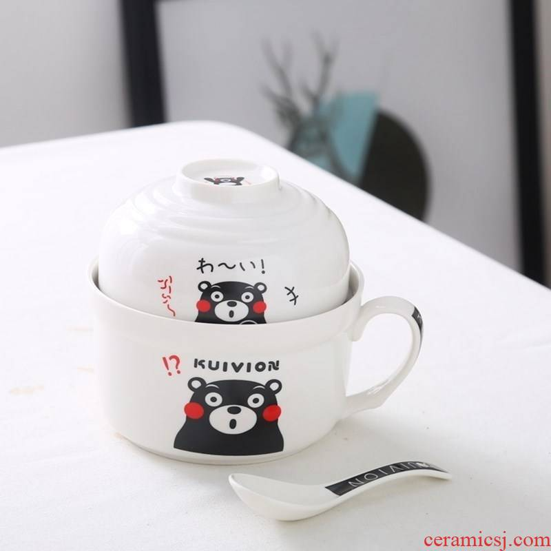 Prevent hot student canteen dozen rice cylinder microwave bento enamel cup noodles with cover li riceses leave ceramic meal