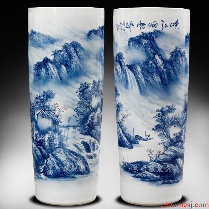 Jingdezhen ceramic hand - made scenery of large vase home furnishing articles modern quiver landing craft ornaments sitting room