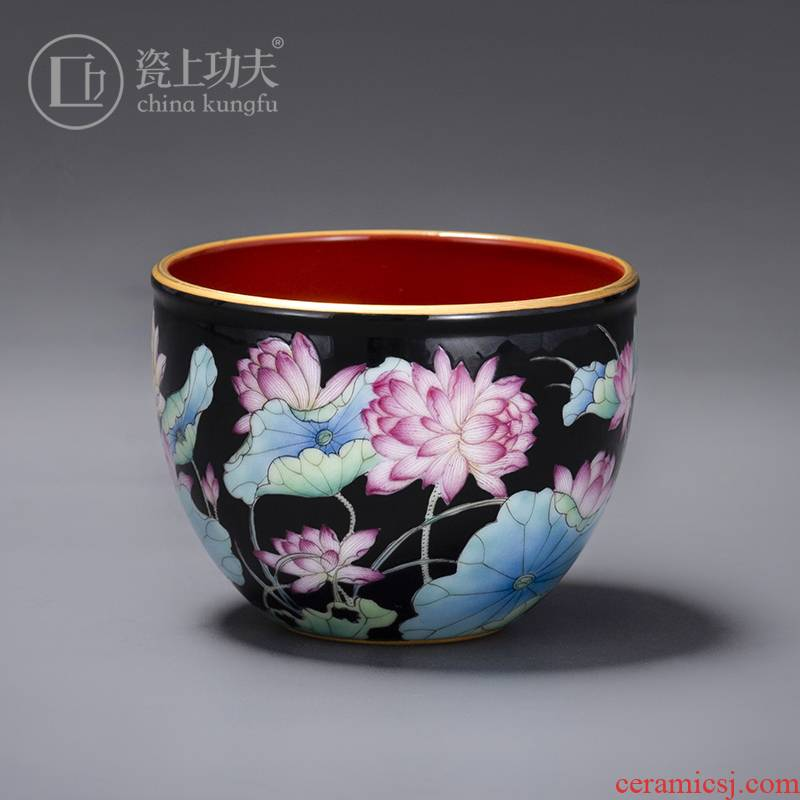 Jingdezhen manual hand - made colored enamel lotus kung fu master sample tea cup ceramic cup cup single CPU high - end ms