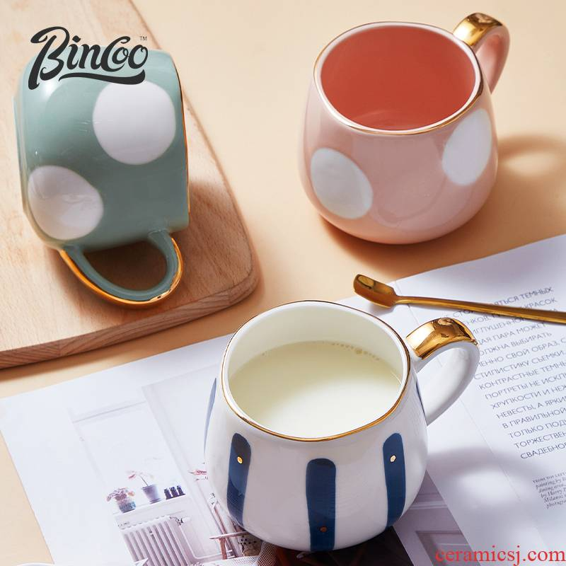 Bincoo creative ceramic mugs high level water cup with a spoon, the appearance of the oat milk coffee cup ins express it in girls