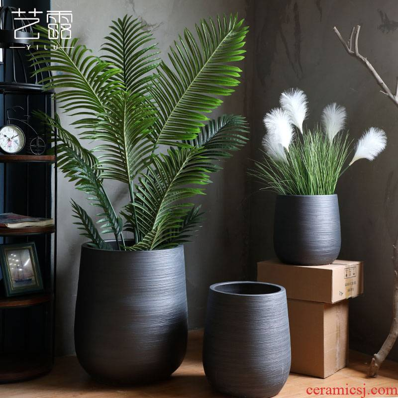 Green plant Nordic flowerpot I and contracted black ceramic vase hydroponic pottery basin of large diameter indoor plant decoration