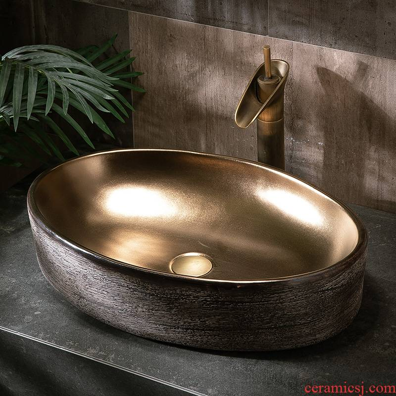 The stage basin to single Nordic ceramic face basin household birdbath simple toilet lavabo balcony sink basin