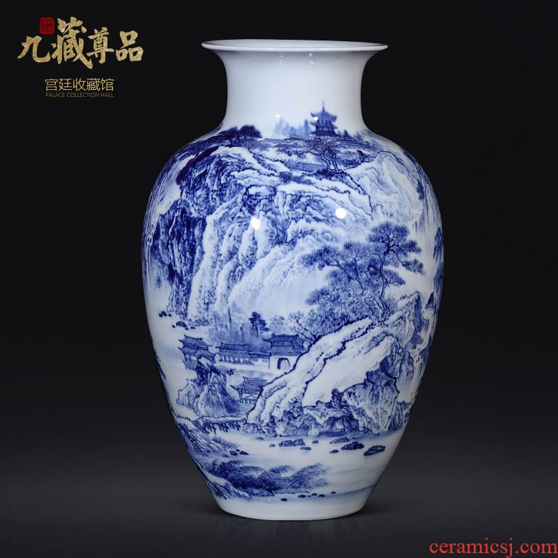 Dong - Ming li master hand - made scenery of blue and white porcelain vase Chinese jingdezhen ceramics sitting room porch TV ark, furnishing articles