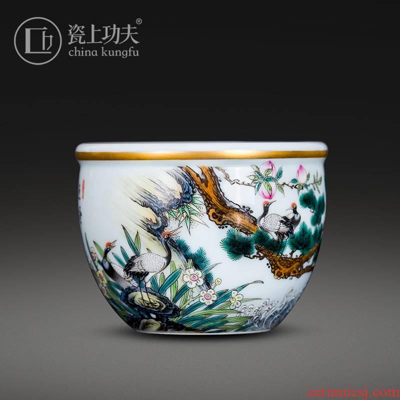 Porcelain on kung fu pine crane, prolong life master of jingdezhen ceramic cylinder cup kung fu tea bowl single CPU