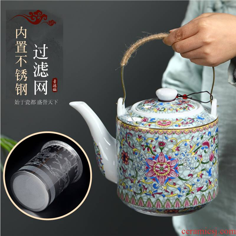 Cool high - capacity ceramic kettle home old Chinese blue and white porcelain teapot large girder cold pot pot of belt filter