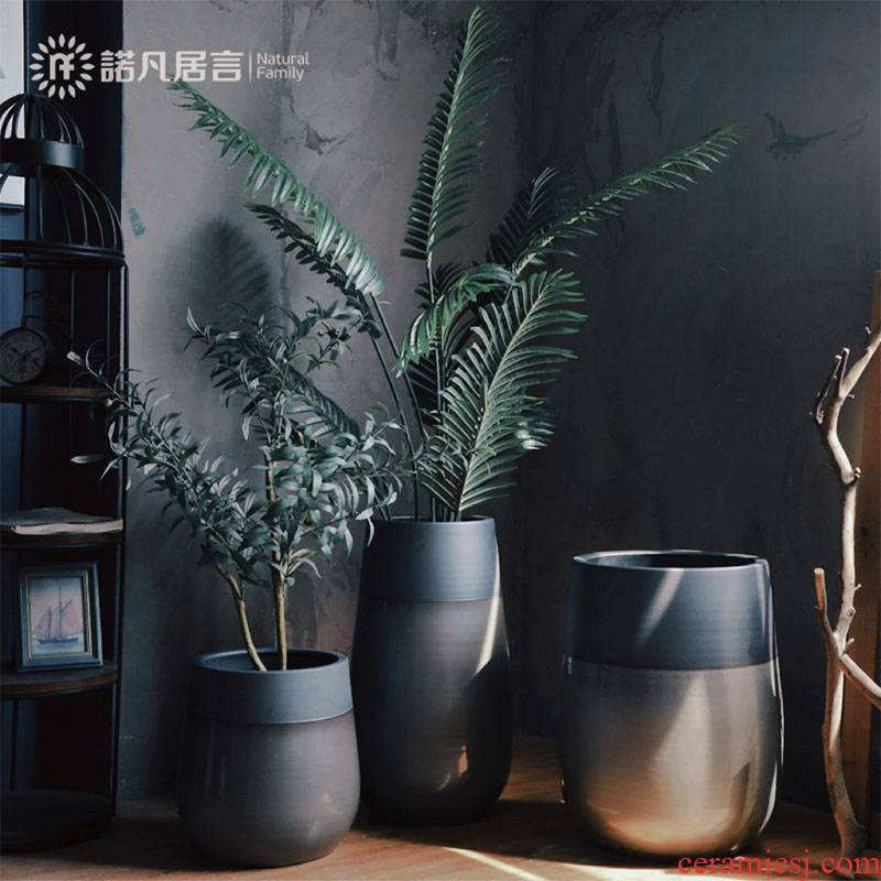 Jingdezhen Nordic ceramic vases, contracted and I sitting room flower POTS, large diameter between example furnishing articles decorative POTS
