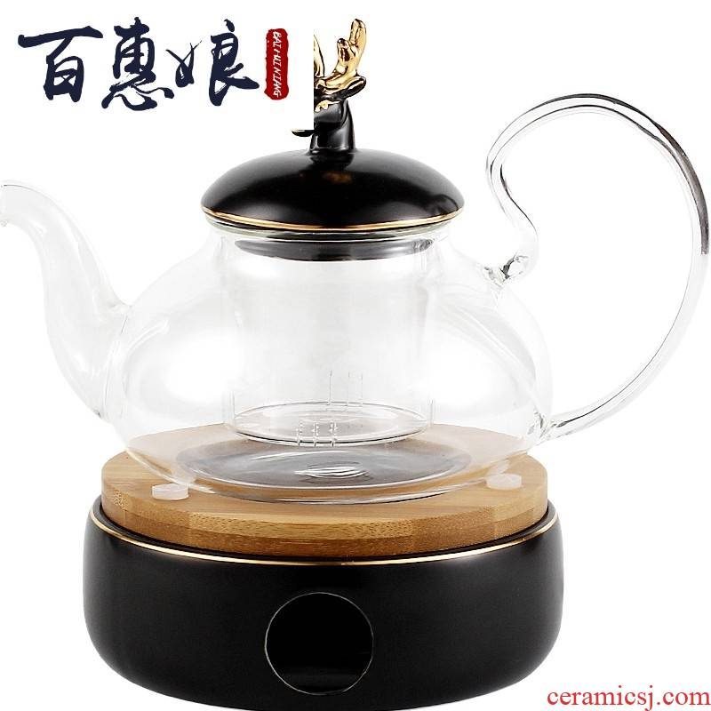 (niang Nordic glass pot of flower pot heating of preserve one 's health of cooked fruit tea scented tea tea set base