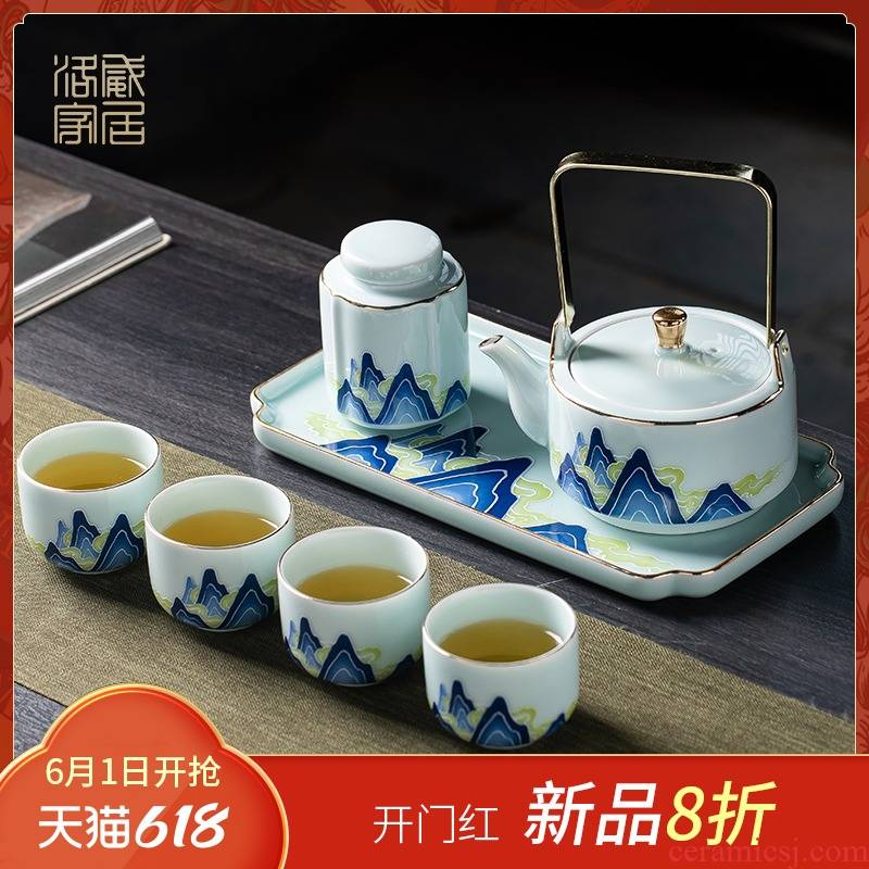 2021 new mountains ceramic teapot suit household contracted teapot tea the trumpet of a complete set of tea tea tray