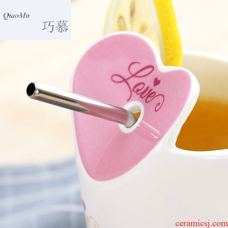 Qiao mu WLS water glass ceramic coffee cup, lovely move creative trend straw keller with cover